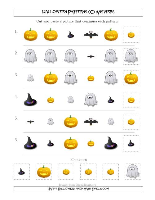 The Not-So-Scary Halloween Picture Patterns with Shape and Size Attributes (C) Math Worksheet Page 2