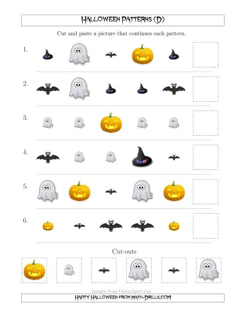 The Not-So-Scary Halloween Picture Patterns with Shape and Size Attributes (D) Math Worksheet