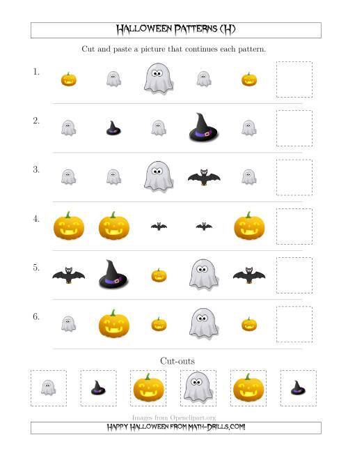 The Not-So-Scary Halloween Picture Patterns with Shape and Size Attributes (H) Math Worksheet