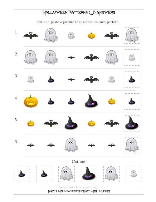 The Not-So-Scary Halloween Picture Patterns with Shape and Size Attributes (J) Math Worksheet Page 2