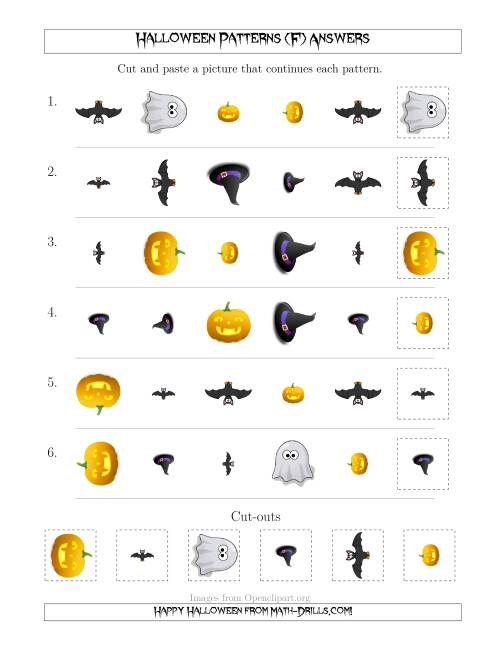 The Not-So-Scary Halloween Picture Patterns with Shape, Size and Rotation Attributes (F) Math Worksheet Page 2