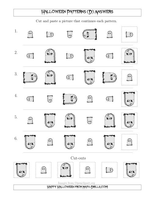 The Scary Halloween Picture Patterns with Size and Rotation Attributes (D) Math Worksheet Page 2