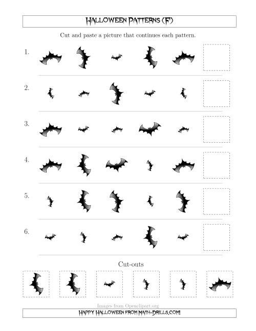 The Scary Halloween Picture Patterns with Size and Rotation Attributes (F) Math Worksheet