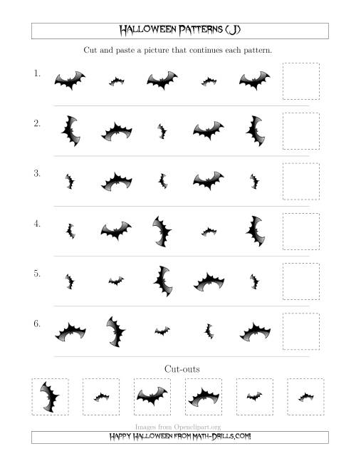 The Scary Halloween Picture Patterns with Size and Rotation Attributes (J) Math Worksheet
