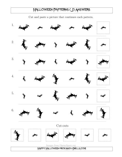 The Scary Halloween Picture Patterns with Size and Rotation Attributes (J) Math Worksheet Page 2