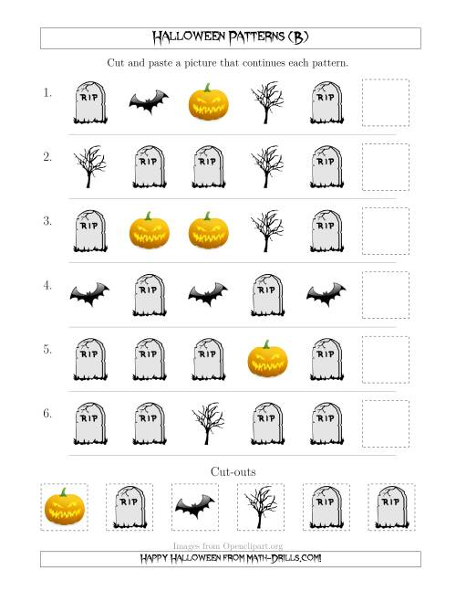 The Scary Halloween Picture Patterns with Shape Attribute Only (B) Math Worksheet