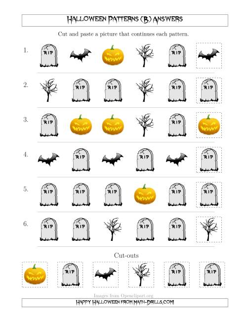 The Scary Halloween Picture Patterns with Shape Attribute Only (B) Math Worksheet Page 2