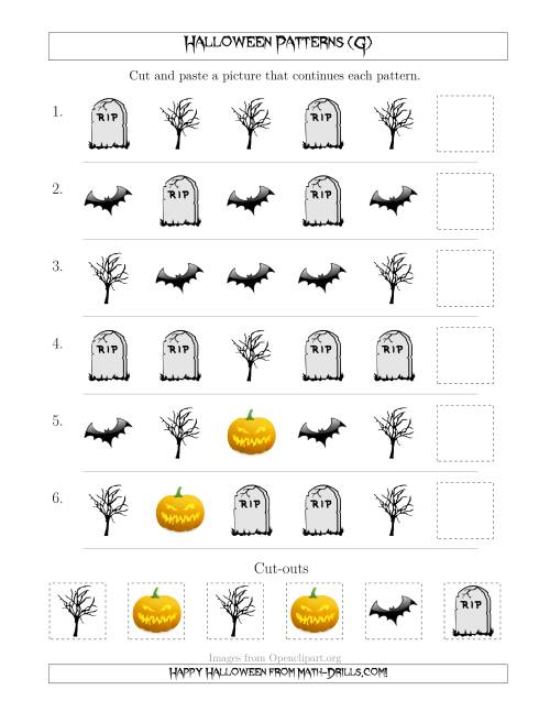 The Scary Halloween Picture Patterns with Shape Attribute Only (G) Math Worksheet