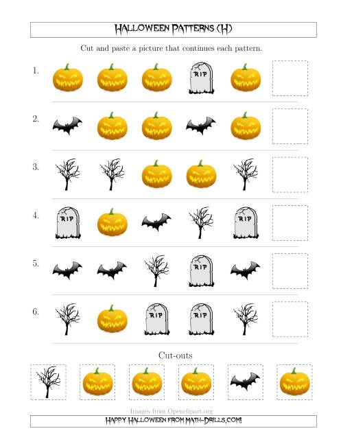 The Scary Halloween Picture Patterns with Shape Attribute Only (H) Math Worksheet