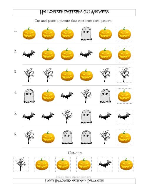The Scary Halloween Picture Patterns with Shape Attribute Only (H) Math Worksheet Page 2