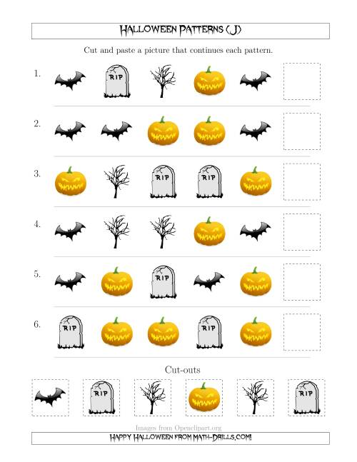 The Scary Halloween Picture Patterns with Shape Attribute Only (J) Math Worksheet