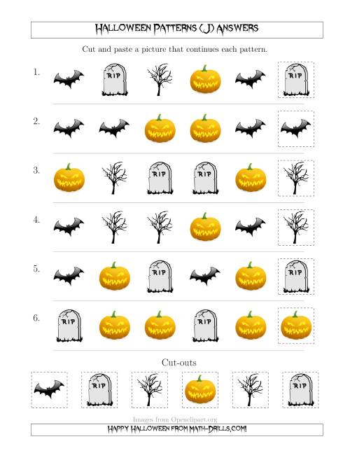 The Scary Halloween Picture Patterns with Shape Attribute Only (J) Math Worksheet Page 2