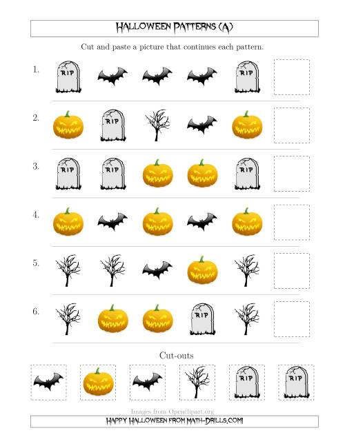 The Scary Halloween Picture Patterns with Shape Attribute Only (All) Math Worksheet