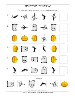 Scary Halloween Picture Patterns with Shape and Rotation Attributes (A)