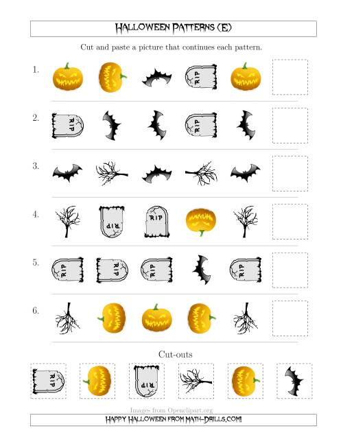 The Scary Halloween Picture Patterns with Shape and Rotation Attributes (E) Math Worksheet