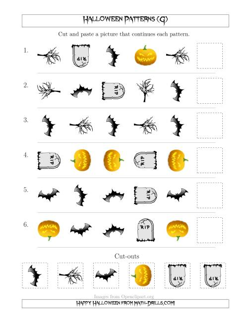 The Scary Halloween Picture Patterns with Shape and Rotation Attributes (G) Math Worksheet