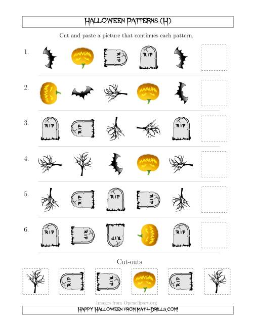 The Scary Halloween Picture Patterns with Shape and Rotation Attributes (H) Math Worksheet