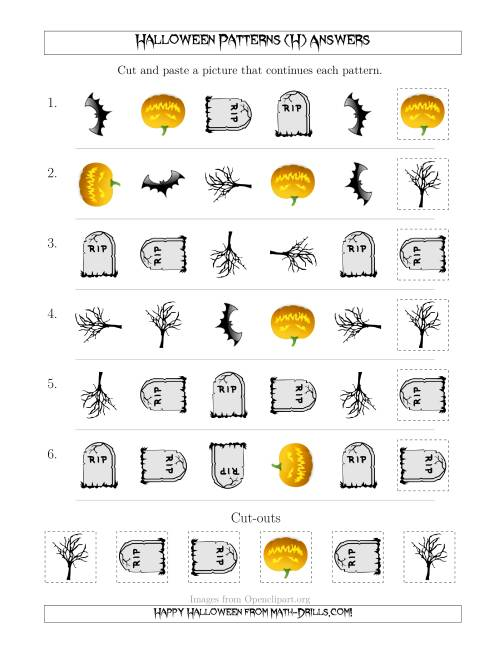 The Scary Halloween Picture Patterns with Shape and Rotation Attributes (H) Math Worksheet Page 2