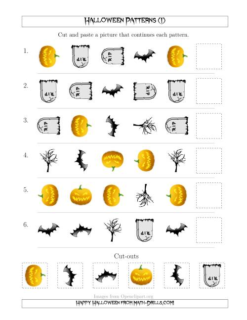 The Scary Halloween Picture Patterns with Shape and Rotation Attributes (I) Math Worksheet