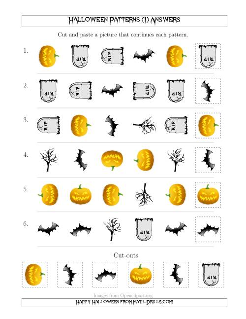 The Scary Halloween Picture Patterns with Shape and Rotation Attributes (I) Math Worksheet Page 2
