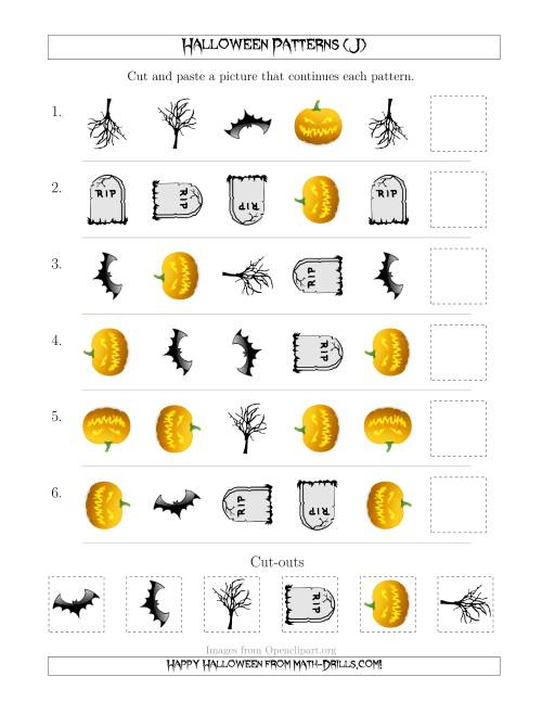 The Scary Halloween Picture Patterns with Shape and Rotation Attributes (J) Math Worksheet