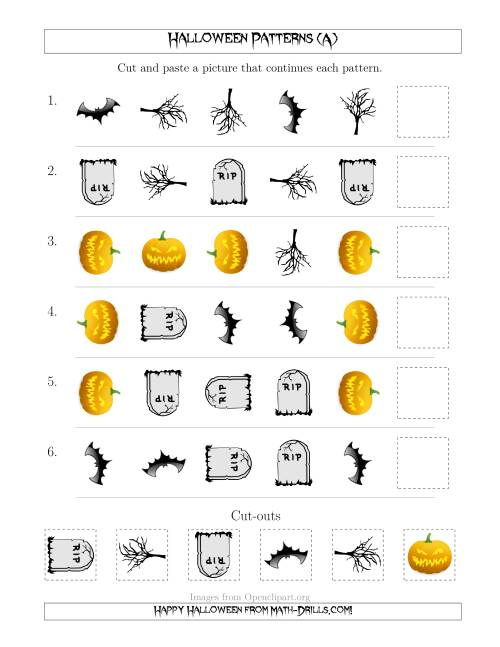 The Scary Halloween Picture Patterns with Shape and Rotation Attributes (All) Math Worksheet