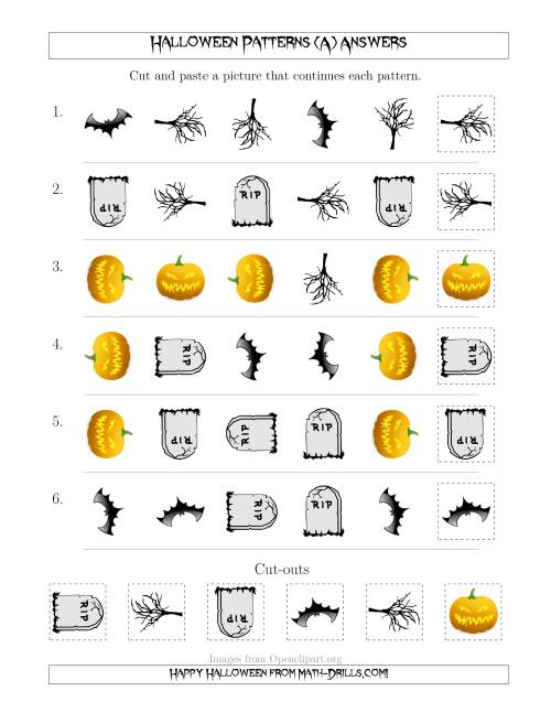 The Scary Halloween Picture Patterns with Shape and Rotation Attributes (All) Math Worksheet Page 2