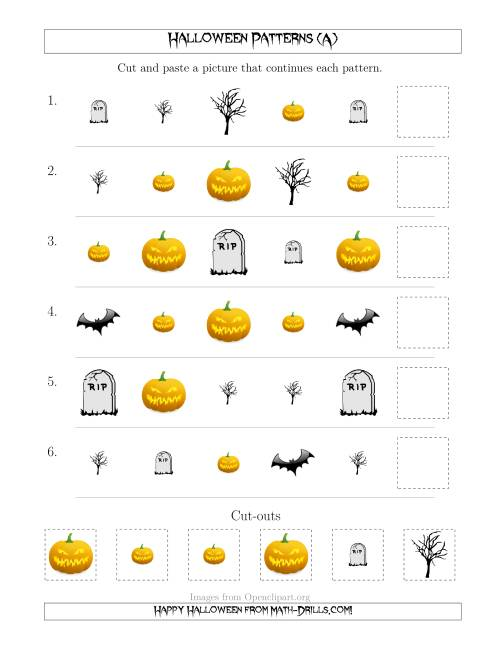 The Scary Halloween Picture Patterns with Shape and Size Attributes (A) Math Worksheet