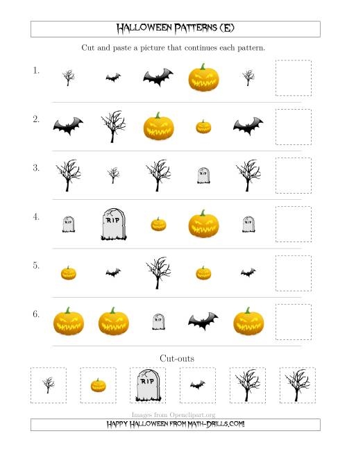 The Scary Halloween Picture Patterns with Shape and Size Attributes (E) Math Worksheet