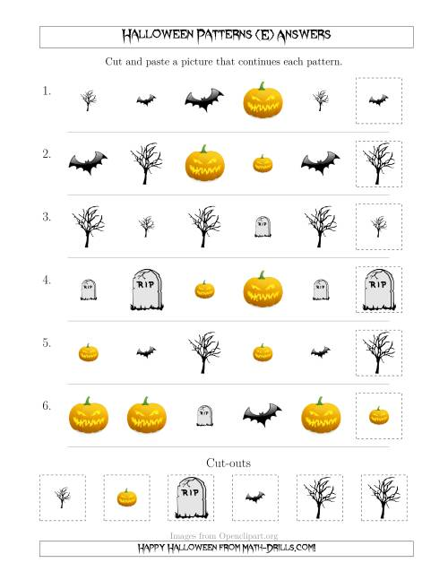 The Scary Halloween Picture Patterns with Shape and Size Attributes (E) Math Worksheet Page 2