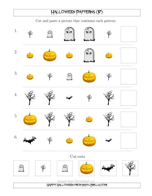 The Scary Halloween Picture Patterns with Shape and Size Attributes (F) Math Worksheet