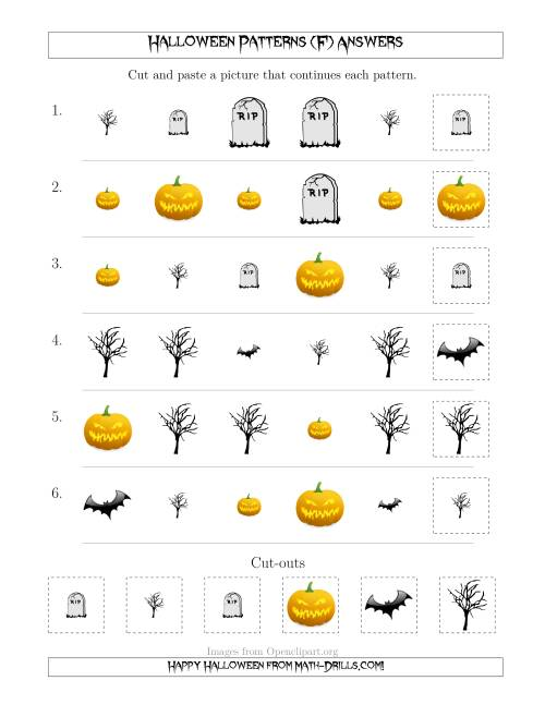 The Scary Halloween Picture Patterns with Shape and Size Attributes (F) Math Worksheet Page 2