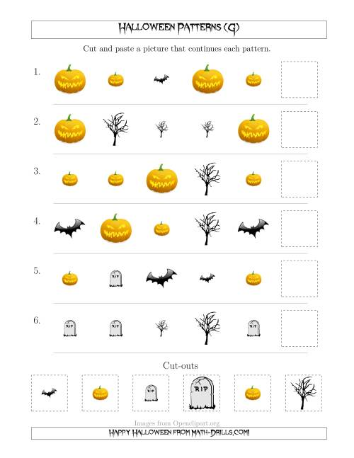 The Scary Halloween Picture Patterns with Shape and Size Attributes (G) Math Worksheet