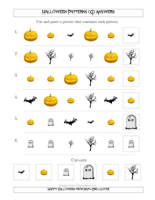 The Scary Halloween Picture Patterns with Shape and Size Attributes (G) Math Worksheet Page 2