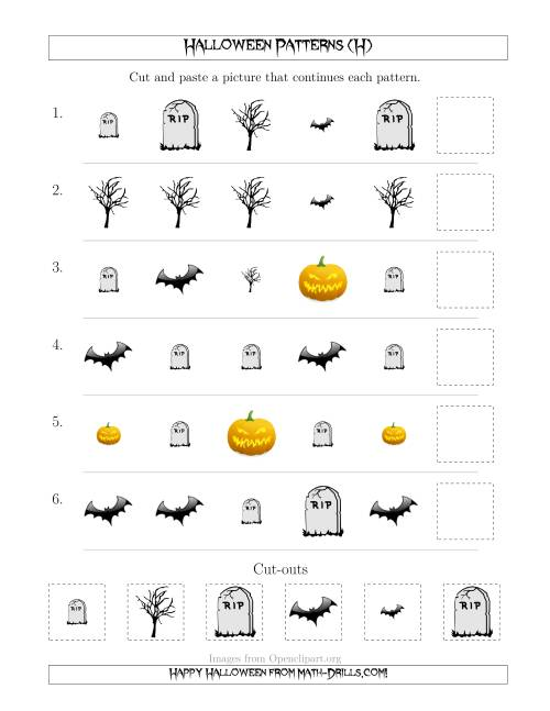 The Scary Halloween Picture Patterns with Shape and Size Attributes (H) Math Worksheet