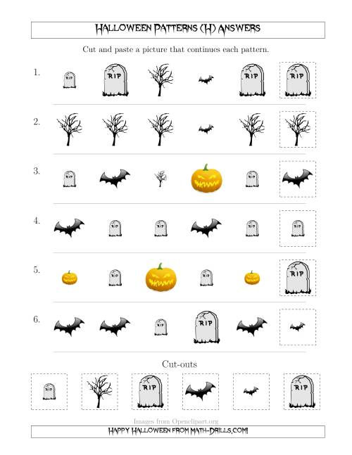 The Scary Halloween Picture Patterns with Shape and Size Attributes (H) Math Worksheet Page 2