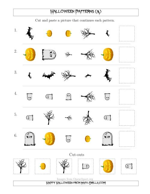 The Scary Halloween Picture Patterns with Shape, Size and Rotation Attributes (A) Math Worksheet