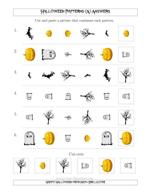 The Scary Halloween Picture Patterns with Shape, Size and Rotation Attributes (A) Math Worksheet Page 2