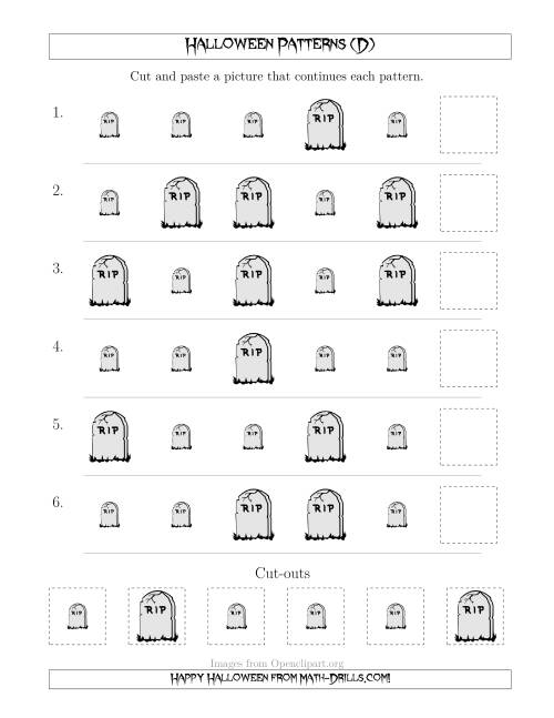 The Scary Halloween Picture Patterns with Size Attribute Only (D) Math Worksheet