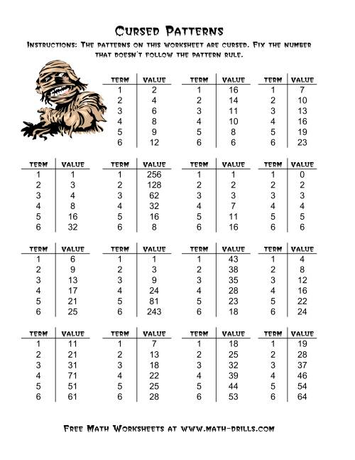 Halloween Cursed Number Patterns A – Pattern Maths Worksheets
