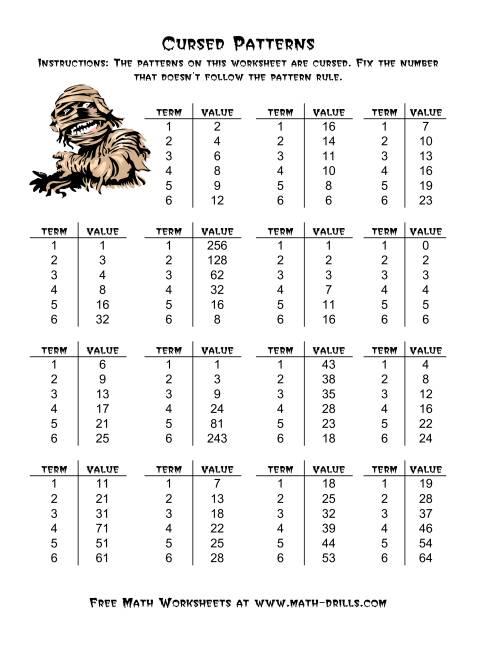 The Halloween Cursed Number Patterns (A) Halloween Math Worksheet