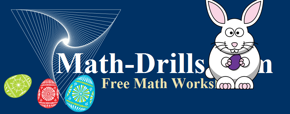 Easter math worksheets including Easter graph paper, patterning, multiplication, addition and word problems at Math-Drills.com.
