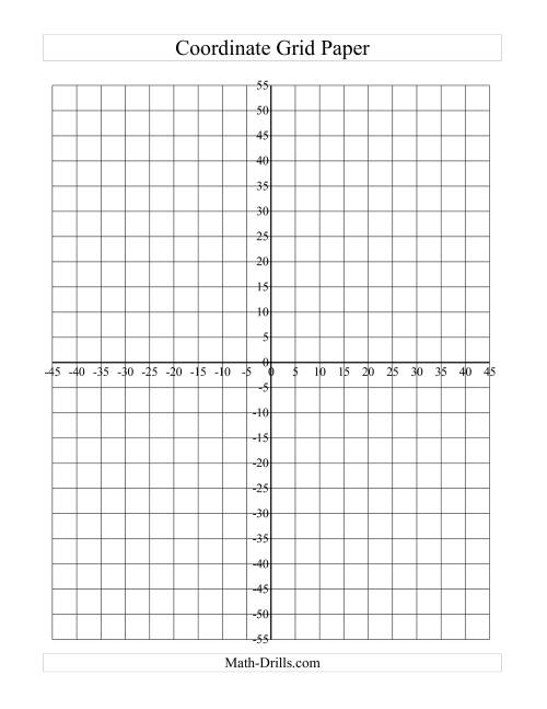 The Coordinate Grid Paper (Intervals of 5) (D) Math Worksheet