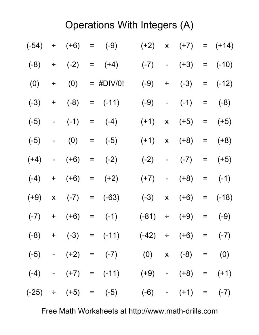 Old Fashioned Math Drills Order Of Operations Worksheets Picture ...
