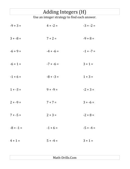 The Adding Integers from -9 to 9 (No Parentheses) (H) Math Worksheet