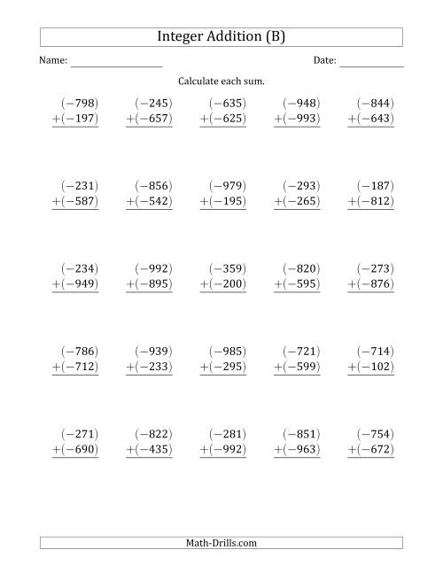 The Three-Digit Negative Plus a Negative Integer Addition (Vertically Arranged) (B) Math Worksheet