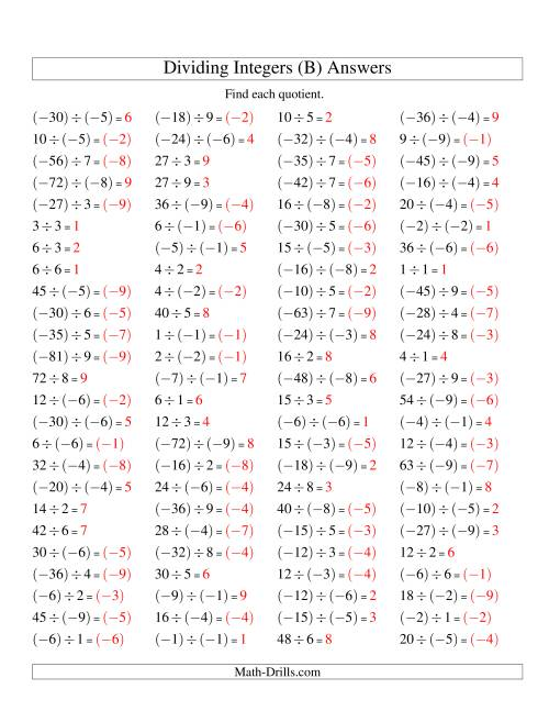 The Dividing Integers -- Mixture (Range -9 to 9) (B) Math Worksheet Page 2