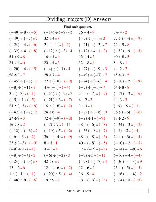 The Dividing Integers -- Mixture (Range -9 to 9) (D) Math Worksheet Page 2