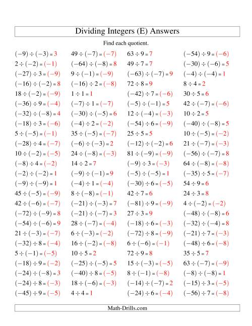 The Dividing Integers -- Mixture (Range -9 to 9) (E) Math Worksheet Page 2