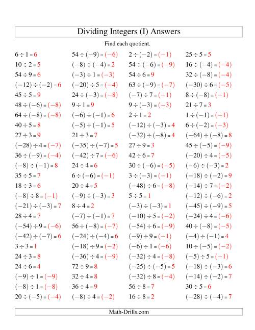 The Dividing Integers -- Mixture (Range -9 to 9) (I) Math Worksheet Page 2